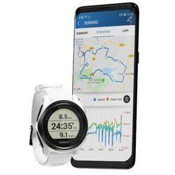Hardloophorloge met gps en hartslagmeting aan de pols Kiprun GPS 550 wit