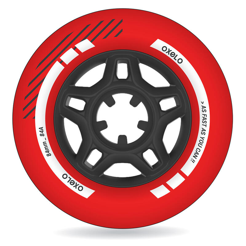 84 mm 84A Inline Skating Wheels 4-Pack - Red
