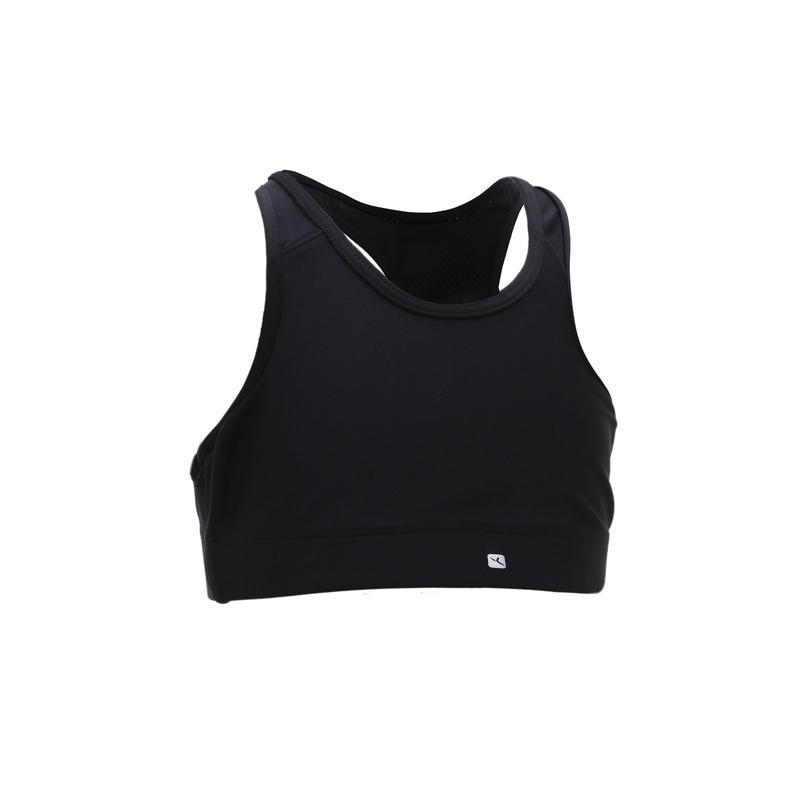 Soutien-gorge respirant gym enfantS500 noir– Fille