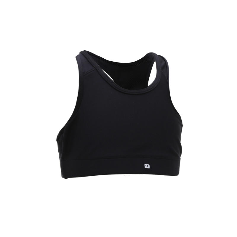 S500 Breathable Gym Sports Bra - Black - Girls'