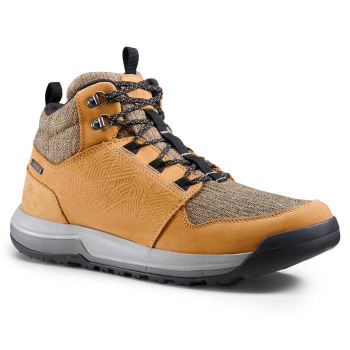 Waterdichte schoenen voor wandelen in de natuur NH500 mid bruin heren