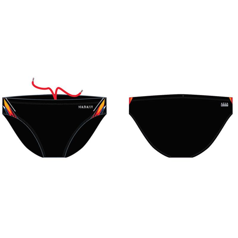 MEN'S SWIMMING BRIEFS 900 YOKE - BLACK KAL RED