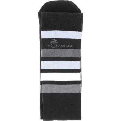 Chaussettes équitation adulte 100 noir rayures blanches et grises
