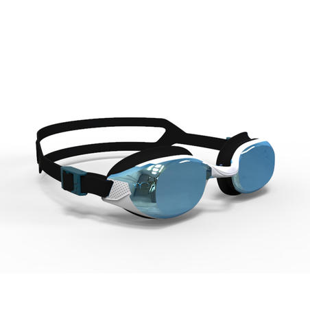 B-FIT Swimming Goggles 500 - White Black Mirror Lenses