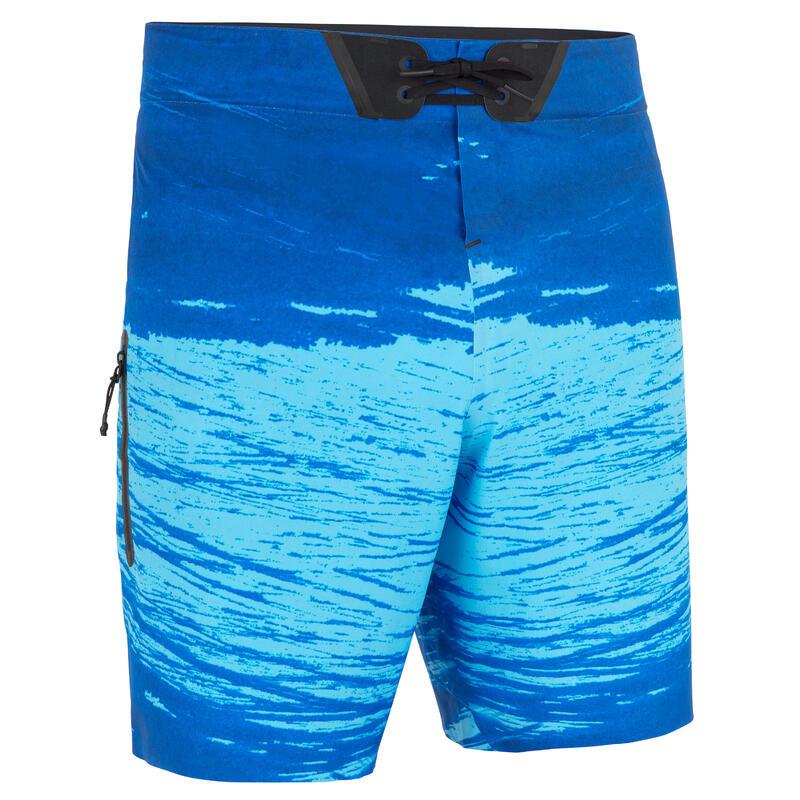 Zwembroek heren zwemshort 900 Trash blauw