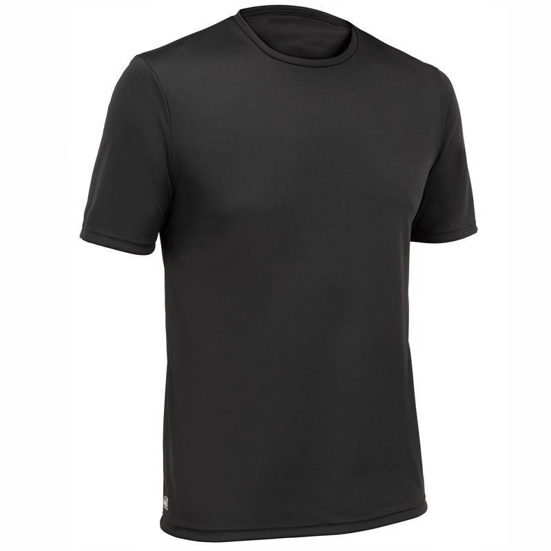 Camiseta Protección Solar Surf Hombre Olaian Negro Manga Corta