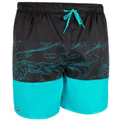 Korte heren zwembroek 100 Blockoi turquoise