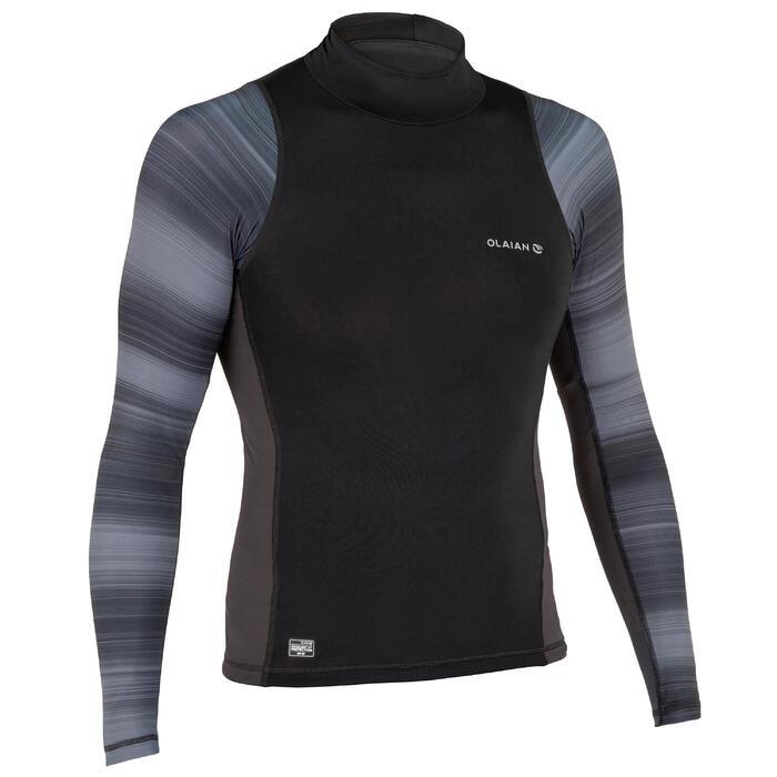 男款抗UV衝浪長袖上衣500-黑色