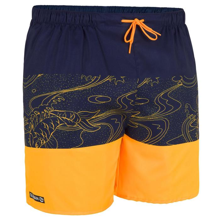 短版衝浪褲100-鯉魚款橘色