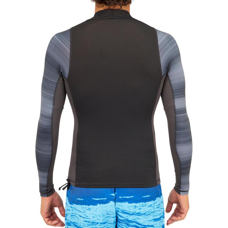 เสื้อโต้คลื่นแขนยาวป้องกันรังสียูวีสำหรับผู้ชายรุ่น 500 (สีดำ)