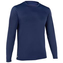Uv-werend zwemshirt met lange mouwen heren blauw