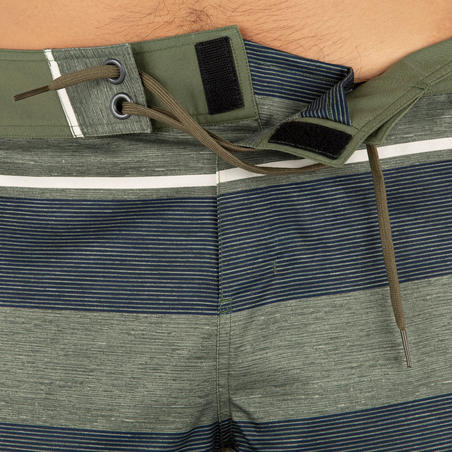 מכנסי גלישה קצרים בדגם 500 - ירוק עם פסים