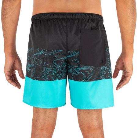 Boardshort Corto Surf 100 Adulto Blockoi Azul Turquesa
