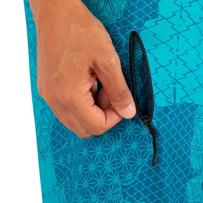 標準衝浪褲500-拼貼款淺碧藍色