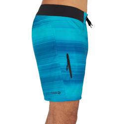 短版衝浪褲500-藍色/橫紋款