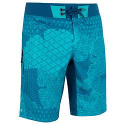 Lange zwemshort heren 500 Patchwork turquoise