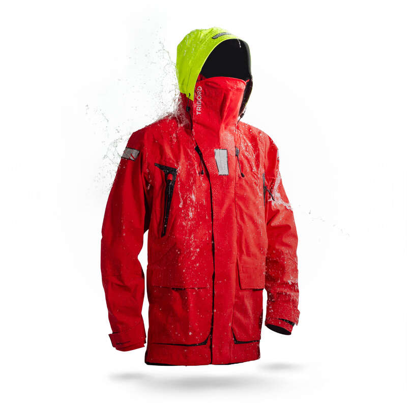 CRUISING RAINY WEATHER MAN CLOTHES Sailing - M Offshore900 jacket - Red TRIBORD - Sailing Clothing