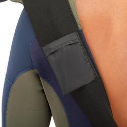 Wetsuit voor surfen heren 500 fullsuit neopreen 3/2 mm blauw/kaki