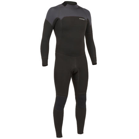 Men's Wetsuit 4/3 mm Neoprene SURF 500 Black and Grey