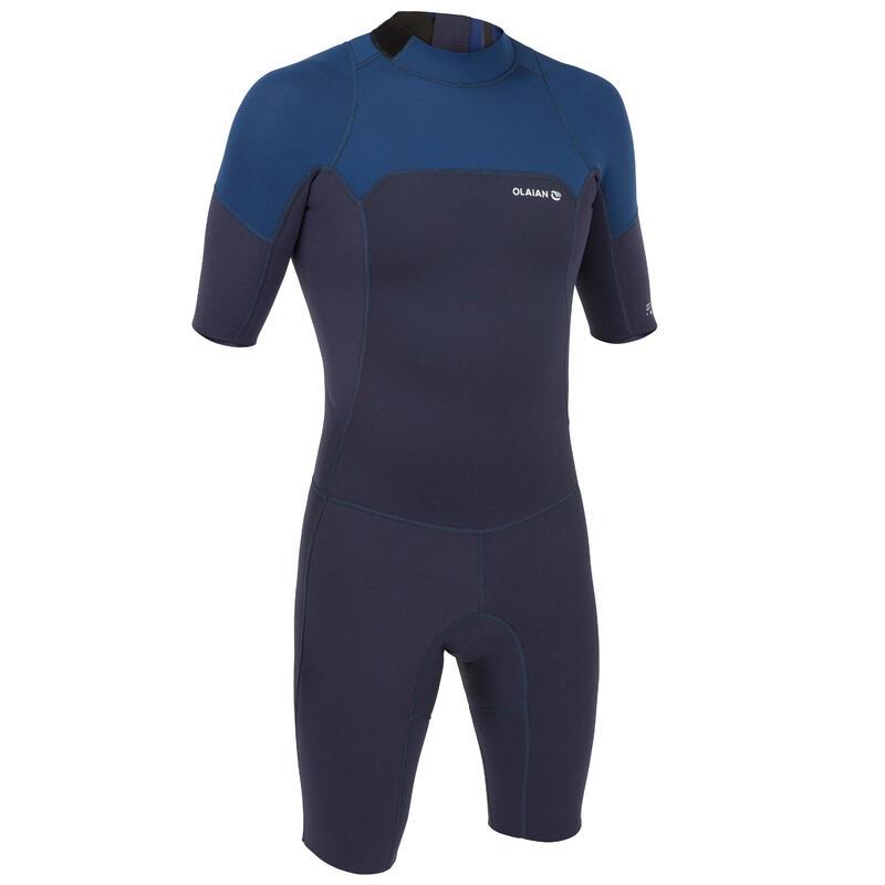 Shorty voor surfen heren 500 stretch neopreen blauw