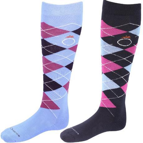 chaussettes quitation enfant et adulte losanges bleu marine violet x 2 paires fouganza. Black Bedroom Furniture Sets. Home Design Ideas