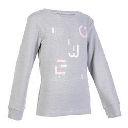 女童保暖健身運動衫100 - 灰色印花