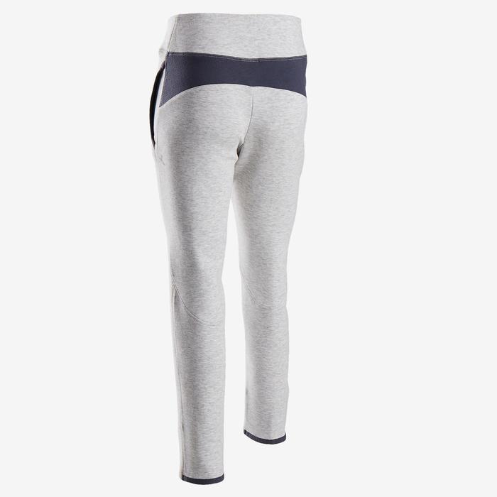 Pantalon chaud slim, coton respirant, 500 girl GYM ENFANT gris clair chiné