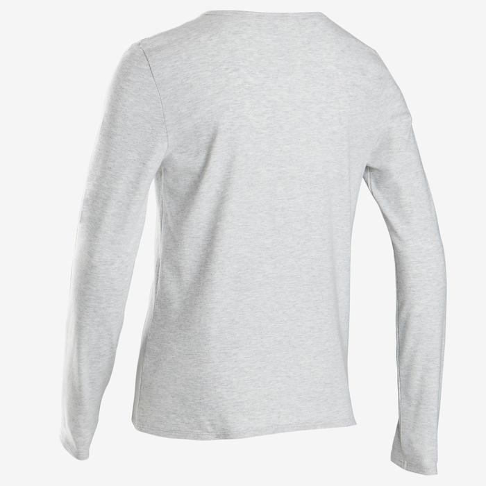 Shirt met lange mouwen voor gym jongens 100 grijs/opdruk