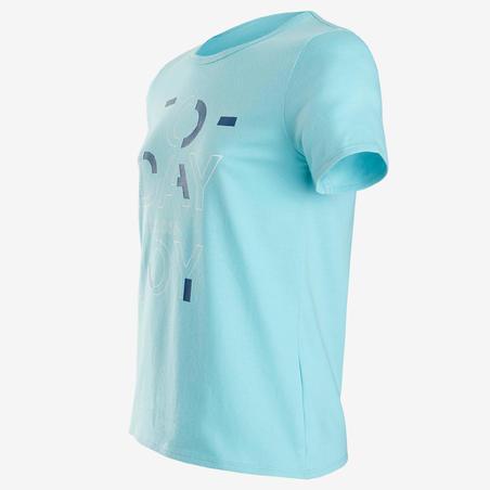 Спортивна футболка 100 для дівчат - Світло-блакитна з принтом