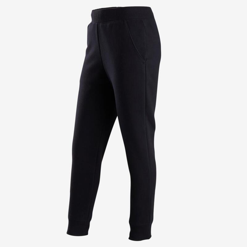 Pantalón cálido 100 niña GIMNASIA INFANTIL algodón negro