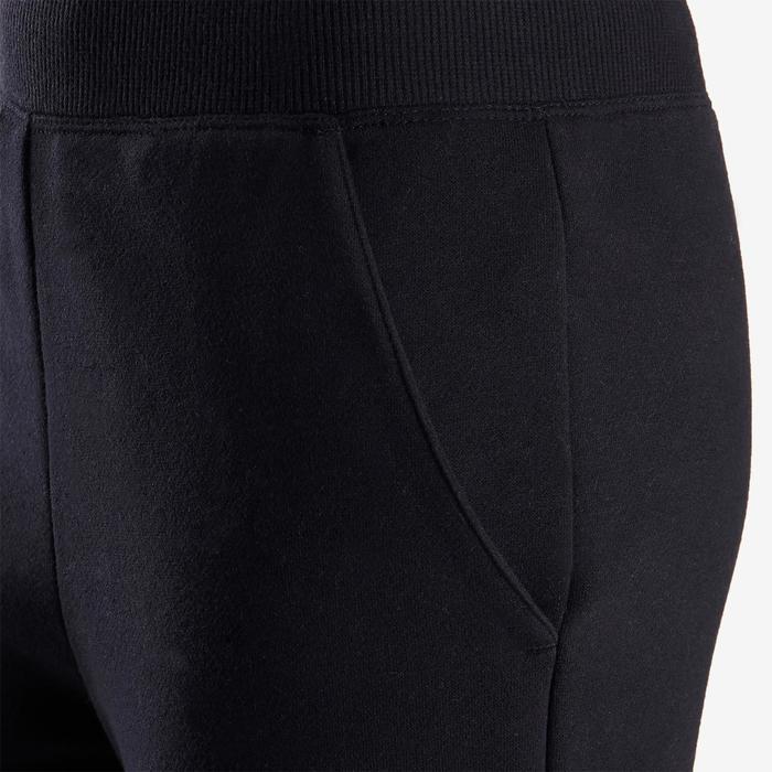 Warme joggingbroek voor gym meisjes 100 zwart