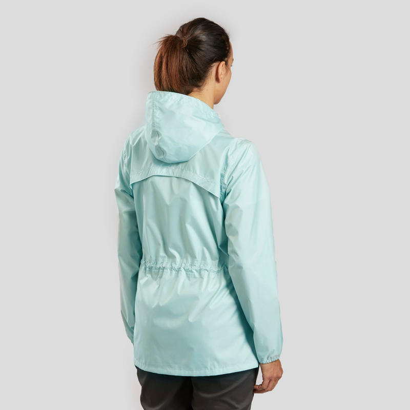 Women's Nature Hiking Rain jacket NH100 Raincut Full Zip- Green