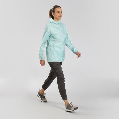 Women's off-road hiking raincoat - NH100 Raincut Full Zip