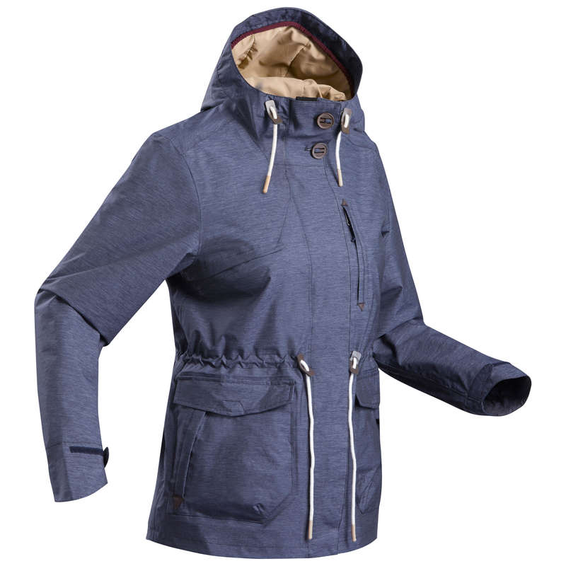 WOMEN NATURE HIKING JACKETS ALL WEATHER Hiking - Jacket NH550 Waterproof - Navy QUECHUA - Hiking Jackets