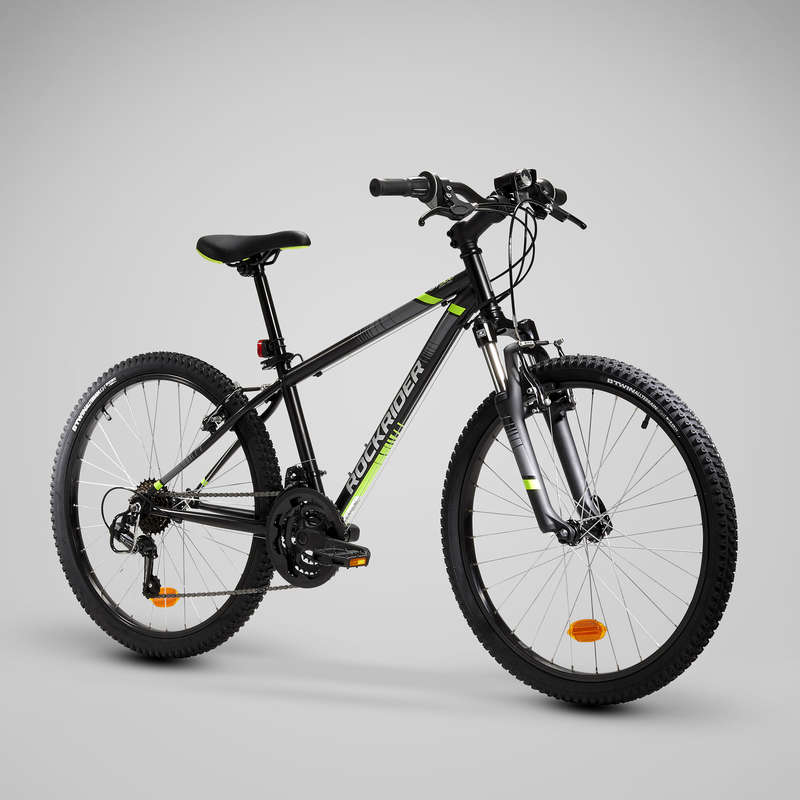 KIDS MTB BIKES 6-12 YEARS Cycling - Rockrider ST 500 Kids Mountain Bike, Black - 24