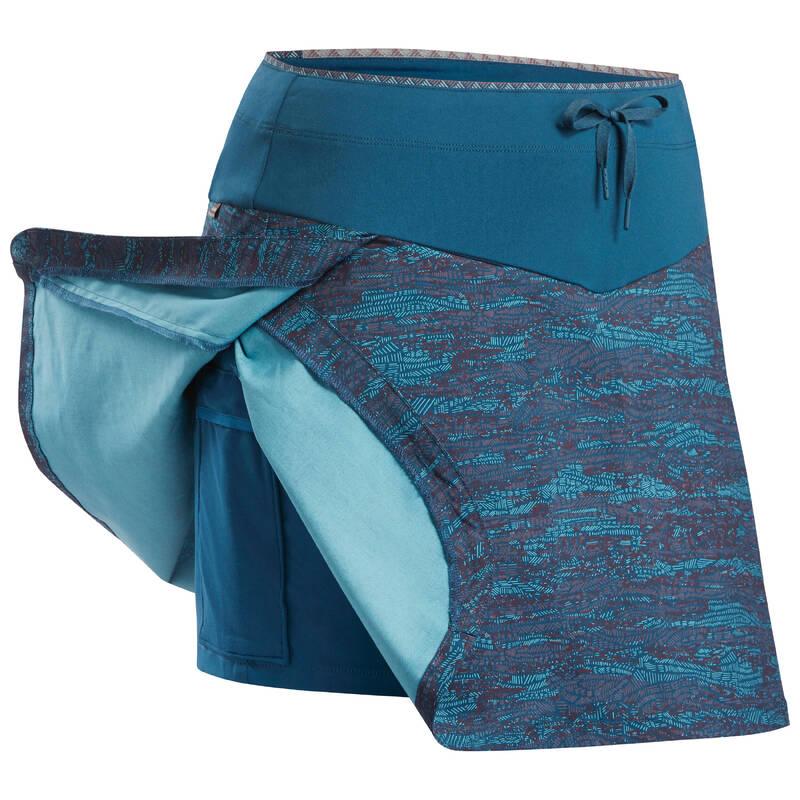DÁMSKÁ TÍLKA A KRAŤASY NA NENÁROČNOU TURISTIKU Turistika - Sukně s kraťasy NH 500 modrá QUECHUA - Turistické oblečení