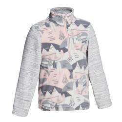 兒童款2至6歲健行刷毛衣MH100-粉紅印花款