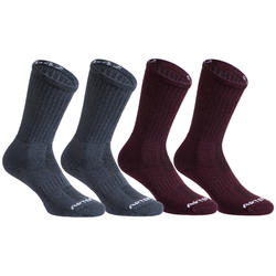 Tennissocken RS 500 high 4er-Pack grau/violett