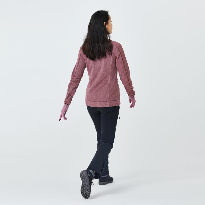 女款登山健行刷毛外套MH120-褐紅色
