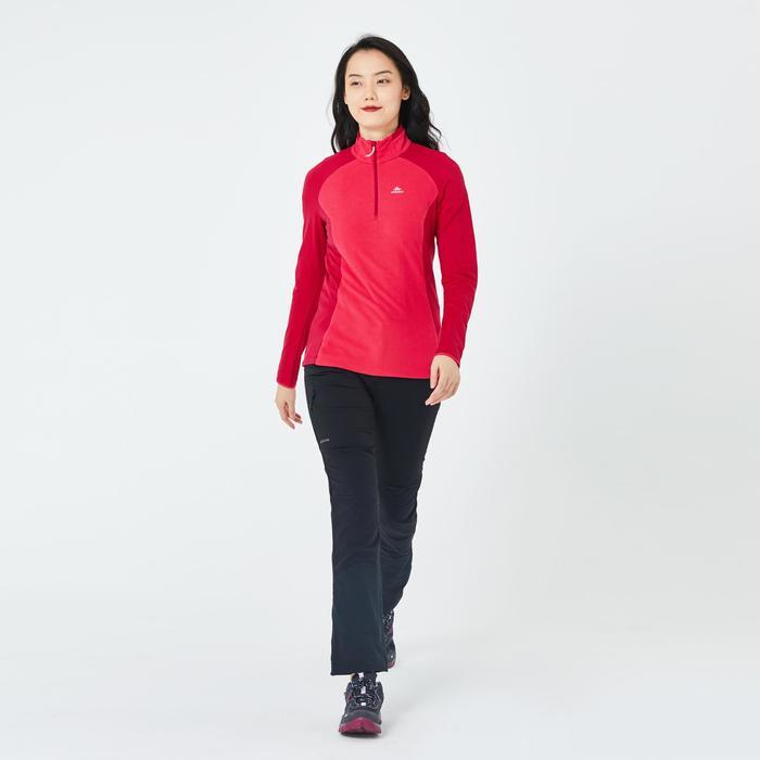 女款登山健行刷毛外套MH500-草莓粉