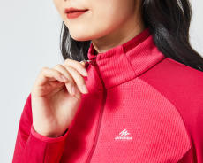迪卡儂女透氣保暖環保登山刷毛衣