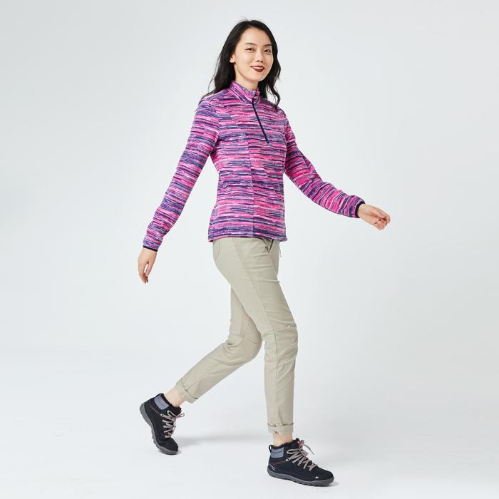 女款登山健行刷毛外套MH100-藍色