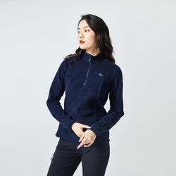 女款登山健行刷毛外套MH100-黑色