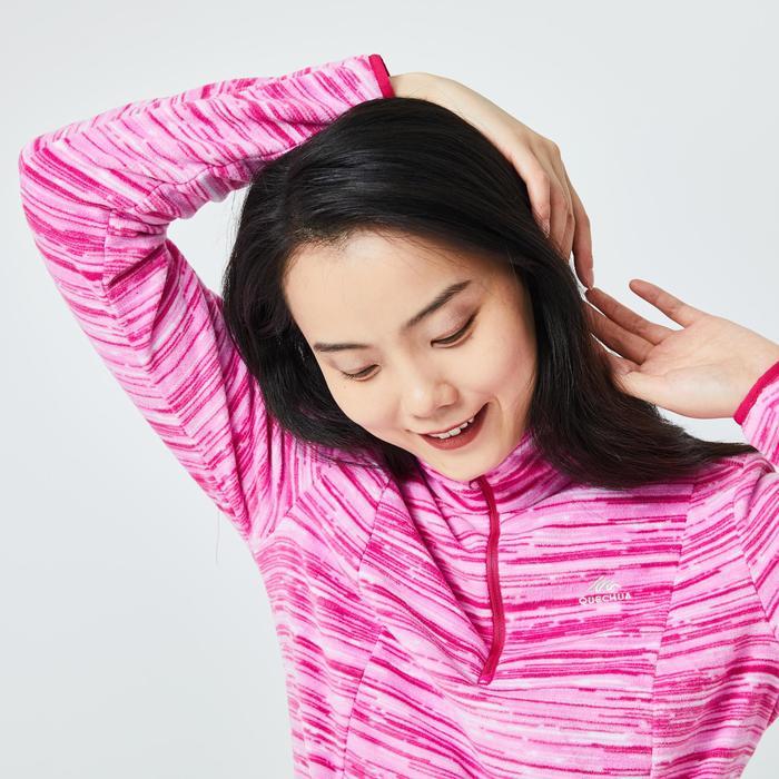 女款登山健行刷毛外套MH100-粉紅色
