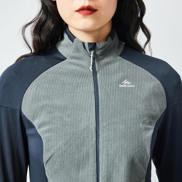 女款登山健行刷毛外套MH520-灰色/卡其色