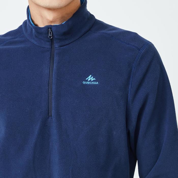 男款登山健行刷毛外套MH100-藍色