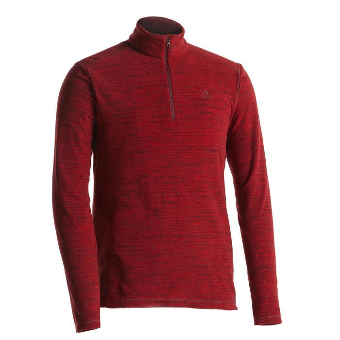 男款登山健行刷毛外套MH100-紅色