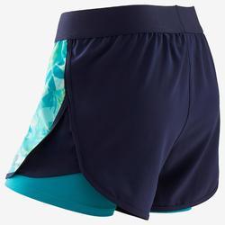 Shorts kurz doppel atmungsaktiv W500 Gym Kinder blau mit Print