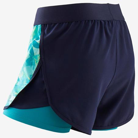 Celana Pendek Senam Ganda Breathable Perempuan W500 - Biru Motif
