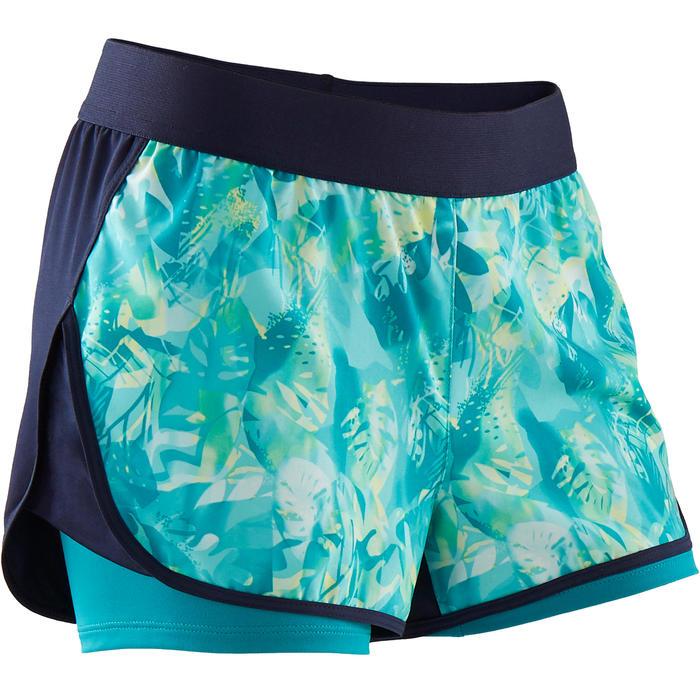 Ademende short voor gym meisjes W500 dubbel blauw/print